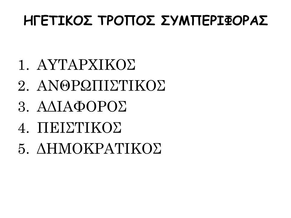 ΗΓΕΤΙΚΟΣ ΤΡΟΠΟΣ ΣΥΜΠΕΡΙΦΟΡΑΣ 1.ΑΥΤΑΡΧΙΚΟΣ 2.ΑΝΘΡΩΠΙΣΤΙΚΟΣ 3.ΑΔΙΑΦΟΡΟΣ 4.ΠΕΙΣΤΙΚΟΣ 5.ΔΗΜΟΚΡΑΤΙΚΟΣ