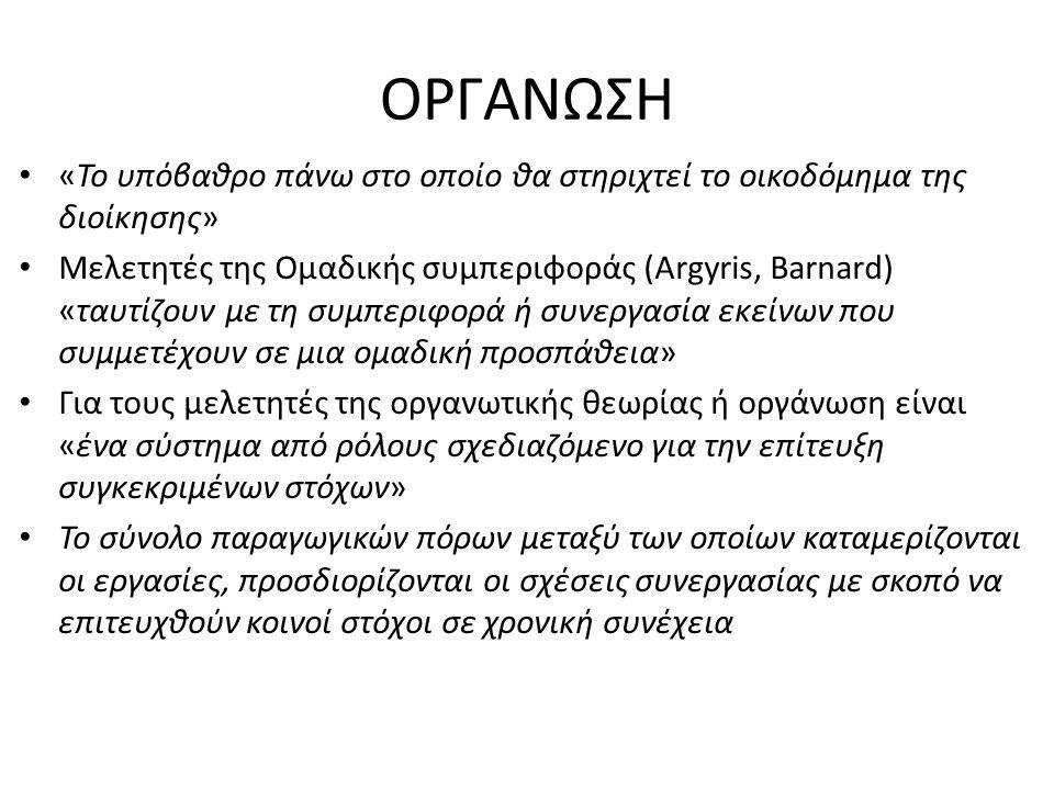 ΟΡΓΑΝΩΣΗ «Το υπόβαθρο πάνω στο οποίο θα στηριχτεί το οικοδόμημα της διοίκησης» Μελετητές της Ομαδικής συμπεριφοράς (Argyris, Barnard) «ταυτίζουν με τη