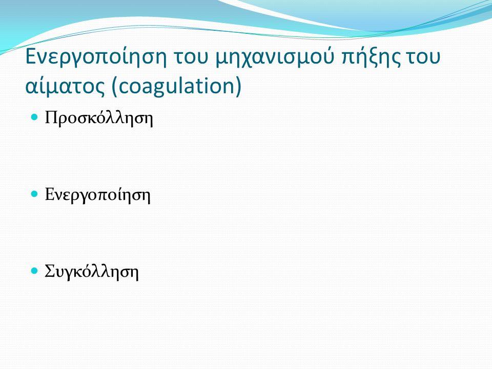 Ενεργοποίηση του μηχανισμού πήξης του αίματος (coagulation) Προσκόλληση Ενεργοποίηση Συγκόλληση