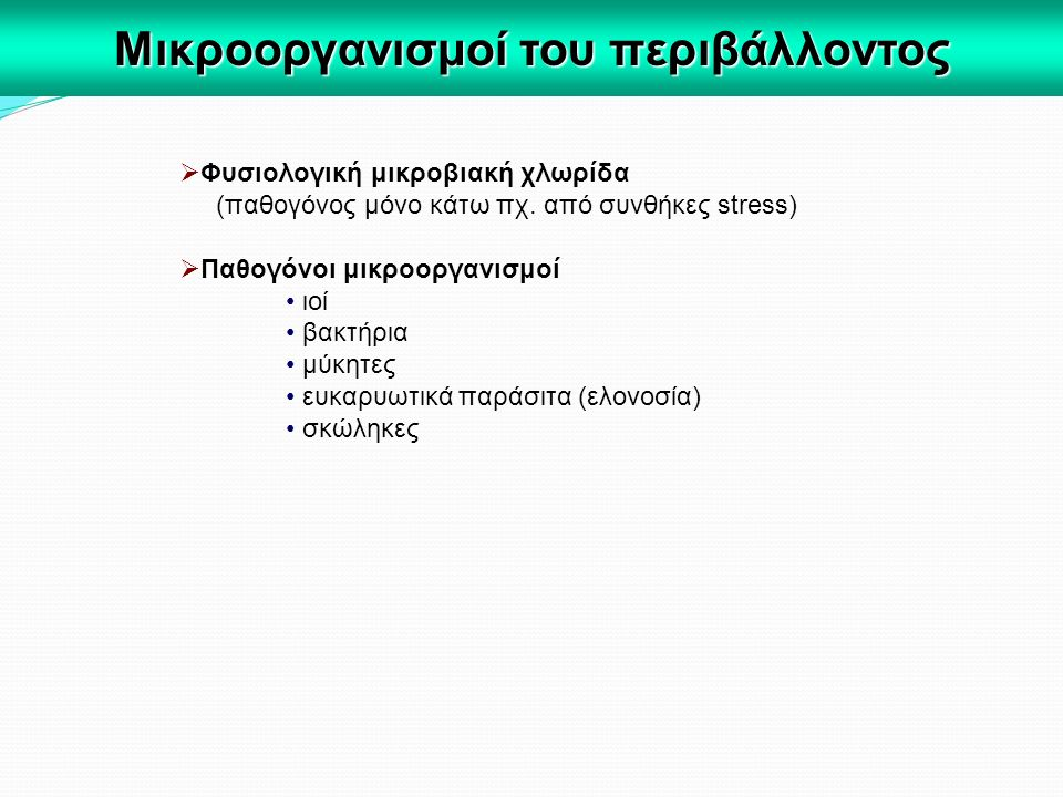  Φυσιολογική μικροβιακή χλωρίδα (παθογόνος μόνο κάτω πχ. από συνθήκες stress)  Παθογόνοι μικροοργανισμοί ιοί βακτήρια μύκητες ευκαρυωτικά παράσιτα (