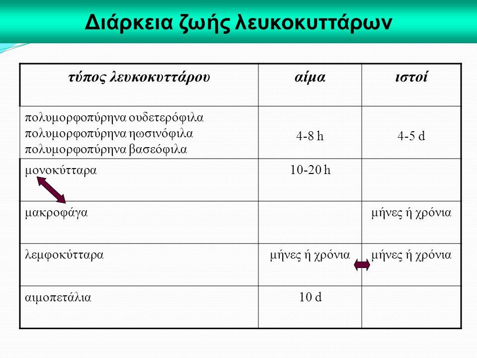 Διάρκεια ζωής λευκοκυττάρων τύπος λευκοκυττάρουαίμαιστοί πολυμορφοπύρηνα ουδετερόφιλα πολυμορφοπύρηνα ηωσινόφιλα πολυμορφοπύρηνα βασεόφιλα 4-8 h4-5 d