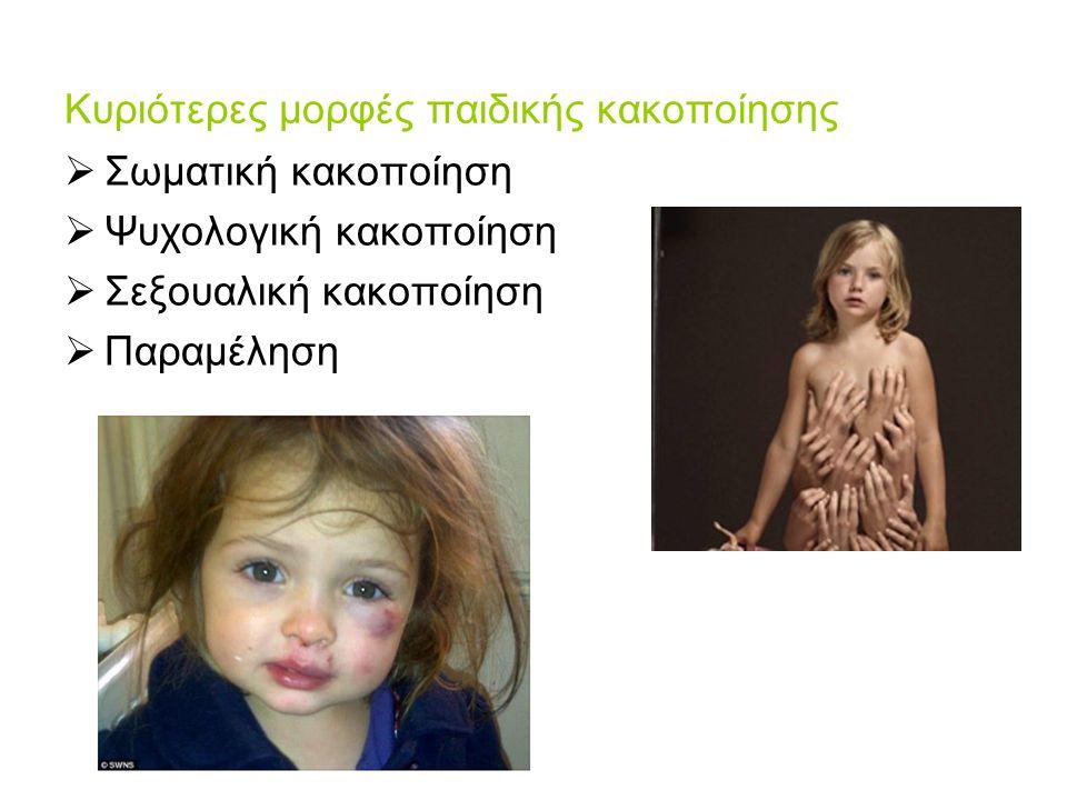Κυριότερες μορφές παιδικής κακοποίησης  Σωματική κακοποίηση  Ψυχολογική κακοποίηση  Σεξουαλική κακοποίηση  Παραμέληση