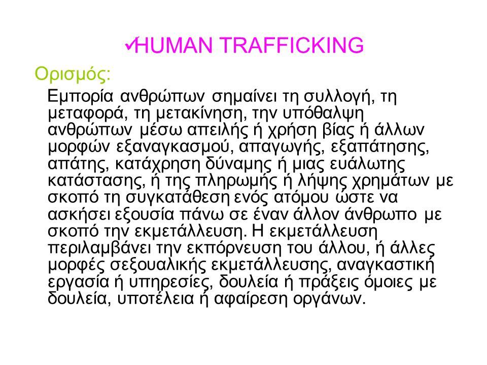 HUMAN TRAFFICKING Ορισμός: Eμπορία ανθρώπων σημαίνει τη συλλογή, τη μεταφορά, τη μετακίνηση, την υπόθαλψη ανθρώπων μέσω απειλής ή χρήση βίας ή άλλων μ