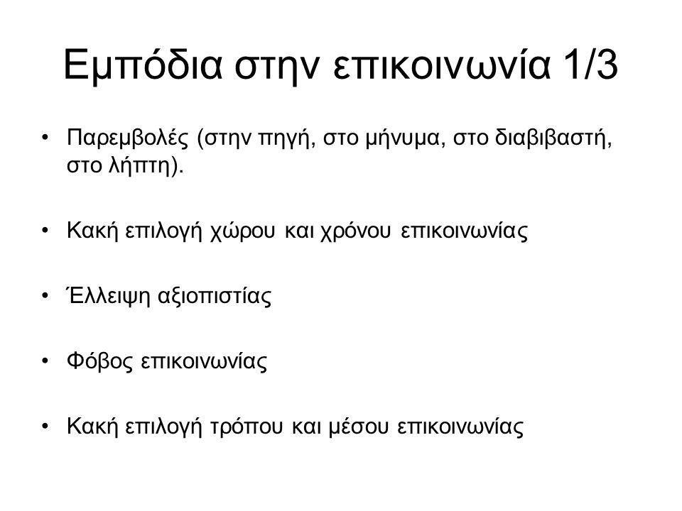 Εμπόδια στην επικοινωνία 1/3 Παρεμβολές (στην πηγή, στο μήνυμα, στο διαβιβαστή, στο λήπτη).