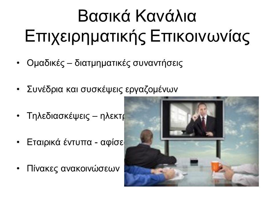 Βασικά Κανάλια Επιχειρηματικής Επικοινωνίας Ομαδικές – διατμηματικές συναντήσεις Συνέδρια και συσκέψεις εργαζομένων Τηλεδιασκέψεις – ηλεκτρονικό ταχυδρομείο Εταιρικά έντυπα - αφίσες Πίνακες ανακοινώσεων