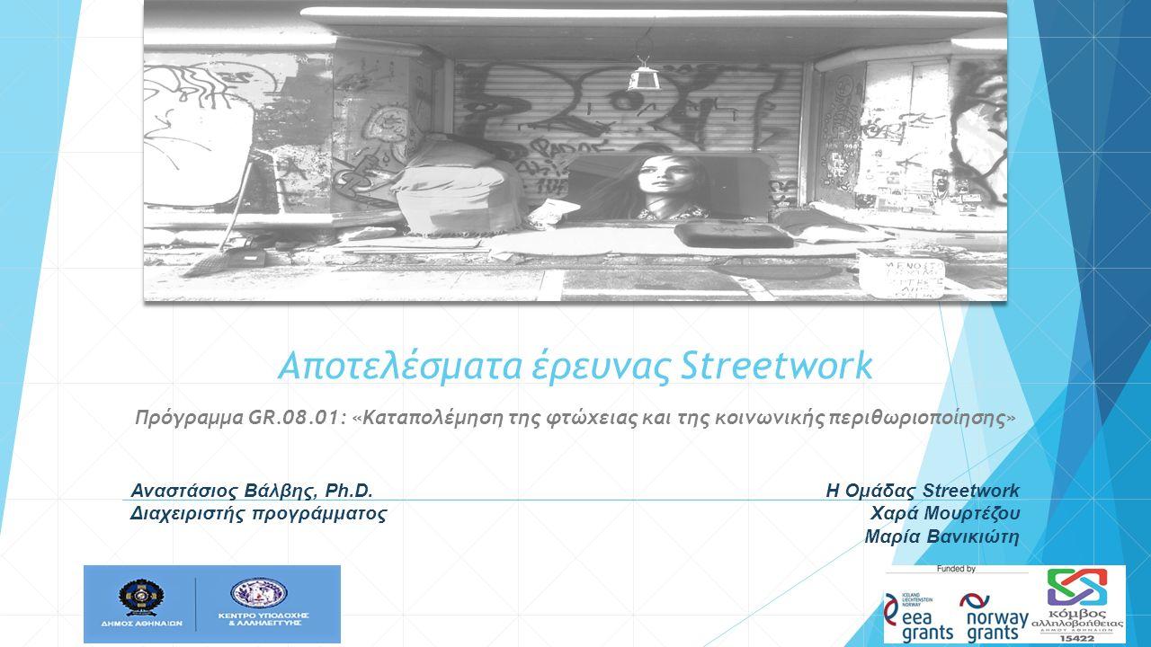 Αποτελέσματα έρευνας Streetwork Πρόγραμμα GR.08.01: «Καταπολέμηση της φτώχειας και της κοινωνικής περιθωριοποίησης» Αναστάσιος Βάλβης, Ph.D. Διαχειρισ