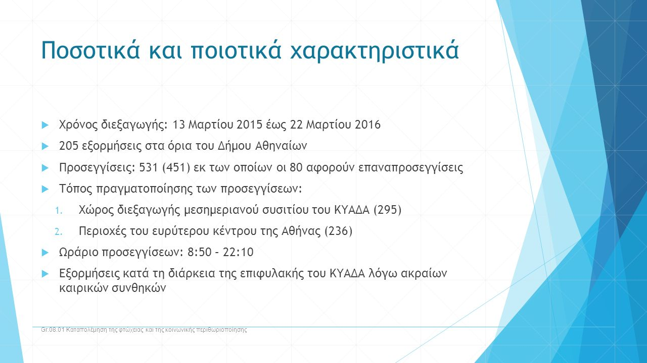 Ποσοτικά και ποιοτικά χαρακτηριστικά  Χρόνος διεξαγωγής: 13 Μαρτίου 2015 έως 22 Μαρτίου 2016  205 εξορμήσεις στα όρια του Δήμου Αθηναίων  Προσεγγίσ