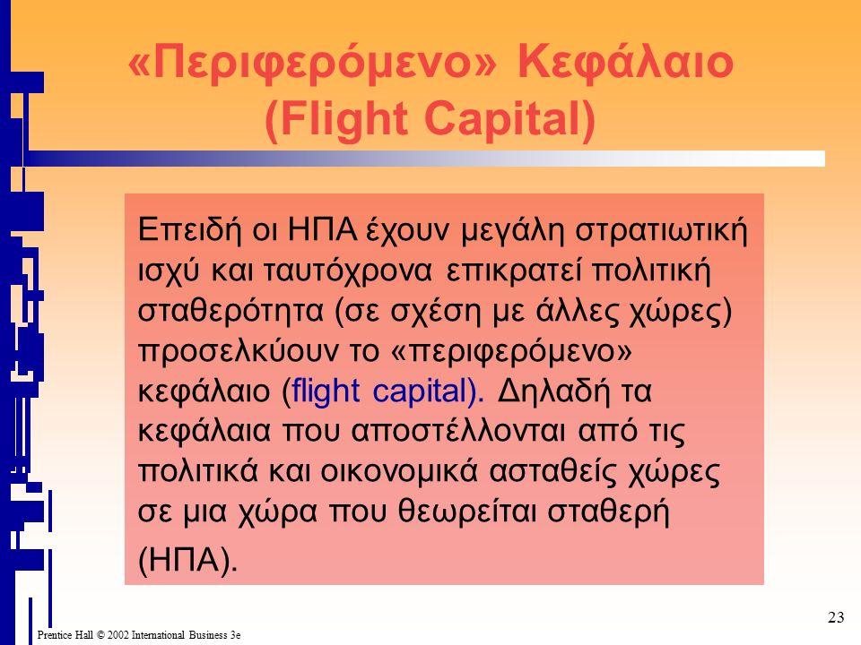 Prentice Hall © 2002 International Business 3e 23 «Περιφερόμενο» Κεφάλαιο (Flight Capital) Επειδή οι ΗΠΑ έχουν μεγάλη στρατιωτική ισχύ και ταυτόχρονα επικρατεί πολιτική σταθερότητα (σε σχέση με άλλες χώρες) προσελκύουν το «περιφερόμενο» κεφάλαιο (flight capital).