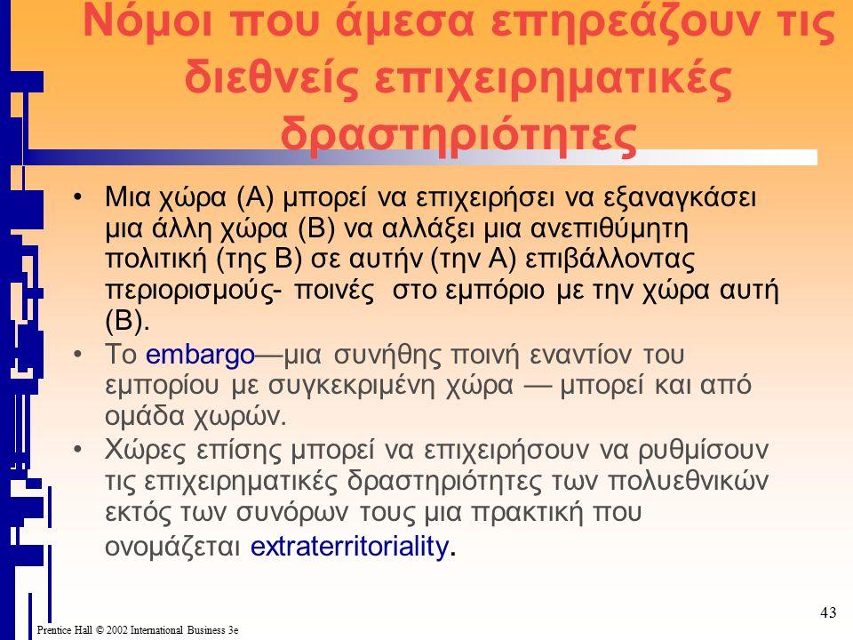 Prentice Hall © 2002 International Business 3e 43 Νόμοι που άμεσα επηρεάζουν τις διεθνείς επιχειρηματικές δραστηριότητες Μια χώρα (Α) μπορεί να επιχειρήσει να εξαναγκάσει μια άλλη χώρα (Β) να αλλάξει μια ανεπιθύμητη πολιτική (της Β) σε αυτήν (την Α) επιβάλλοντας περιορισμούς- ποινές στο εμπόριο με την χώρα αυτή (Β).