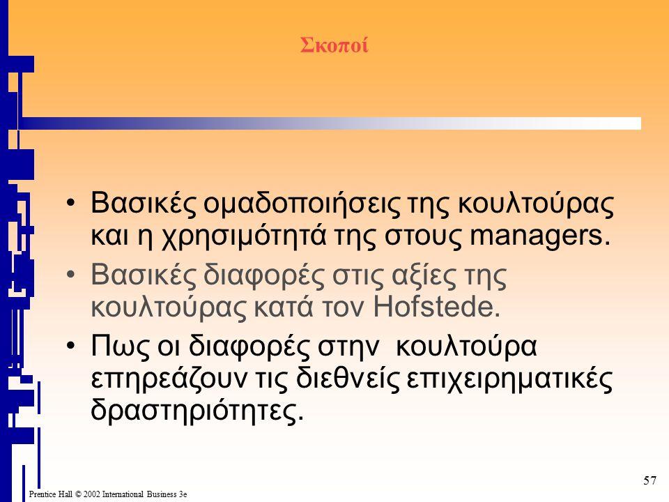 Prentice Hall © 2002 International Business 3e 57 Σκοποί Βασικές ομαδοποιήσεις της κουλτούρας και η χρησιμότητά της στους managers. Βασικές διαφορές σ