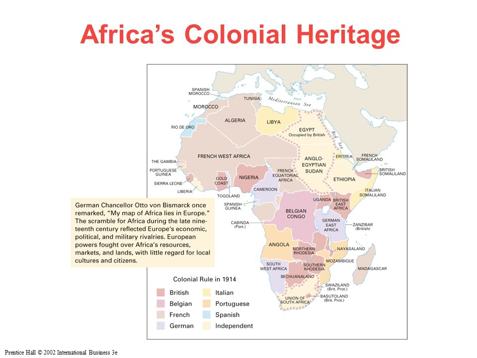 Prentice Hall © 2002 International Business 3e Africa's Colonial Heritage