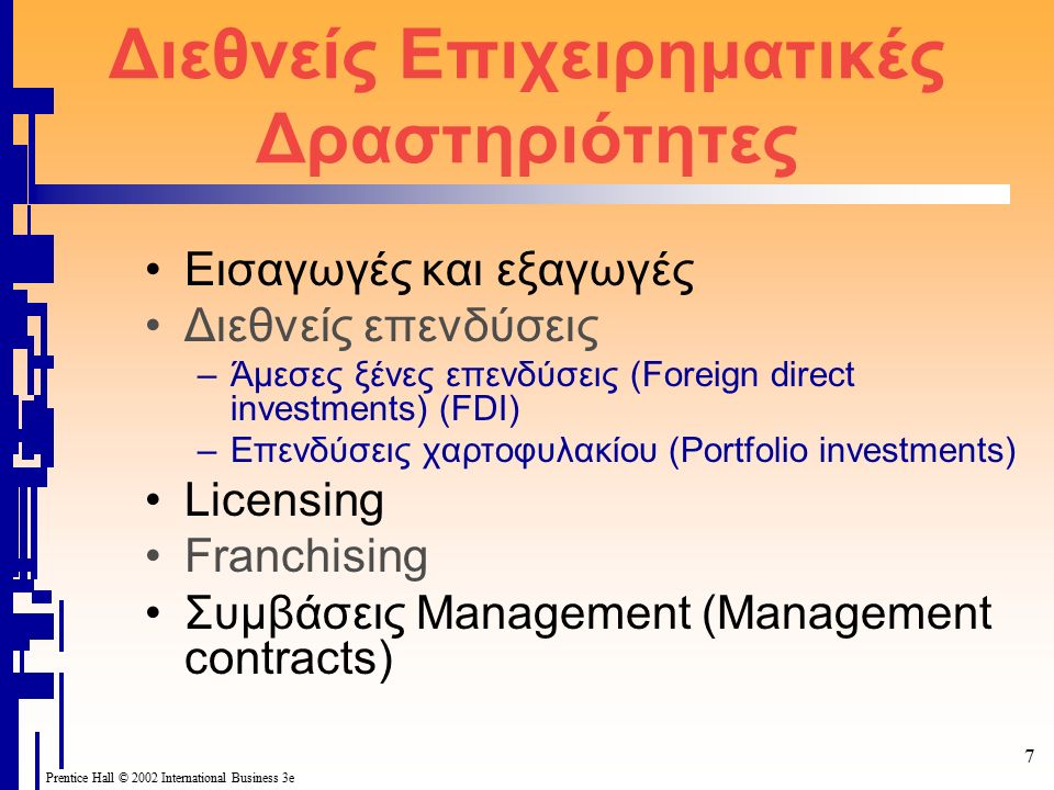 Prentice Hall © 2002 International Business 3e 8 Εισαγωγές και εξαγωγές Εξαγωγές είναι η πώληση προϊόντων is που κατασκευάζονται σε μια χώρα (έστω στη χώρα μας) για χρήση η μεταπώληση σε άλλες χώρες.