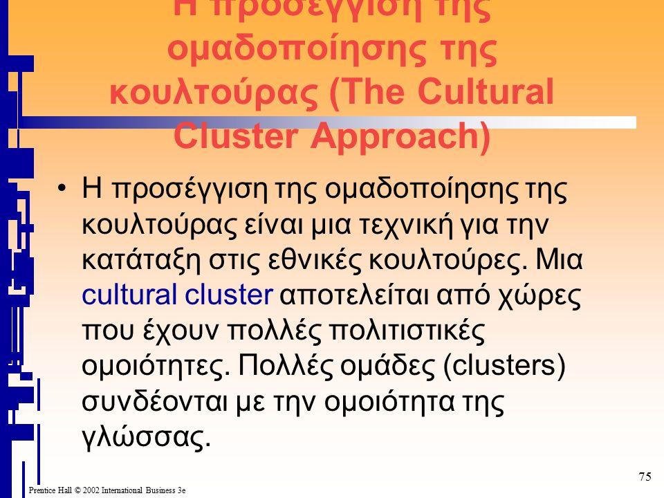 Prentice Hall © 2002 International Business 3e 75 Η προσέγγιση της ομαδοποίησης της κουλτούρας (The Cultural Cluster Approach) Η προσέγγιση της ομαδοποίησης της κουλτούρας είναι μια τεχνική για την κατάταξη στις εθνικές κουλτούρες.