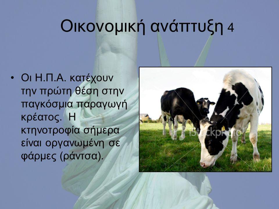 Οικονομική ανάπτυξη 4 Οι Η.Π.Α. κατέχουν την πρώτη θέση στην παγκόσμια παραγωγή κρέατος.