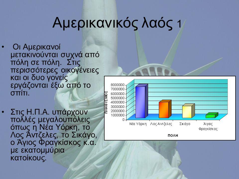 Αμερικανικός λαός 1 Οι Αμερικανοί μετακινούνται συχνά από πόλη σε πόλη.