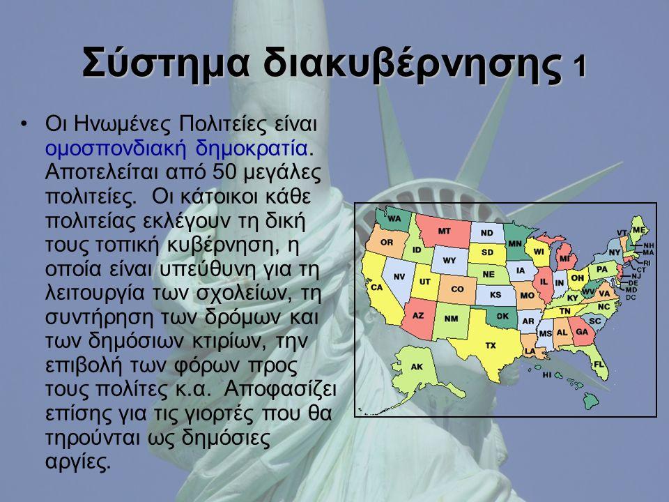 Σύστημα διακυβέρνησης 1 Οι Ηνωμένες Πολιτείες είναι ομοσπονδιακή δημοκρατία.