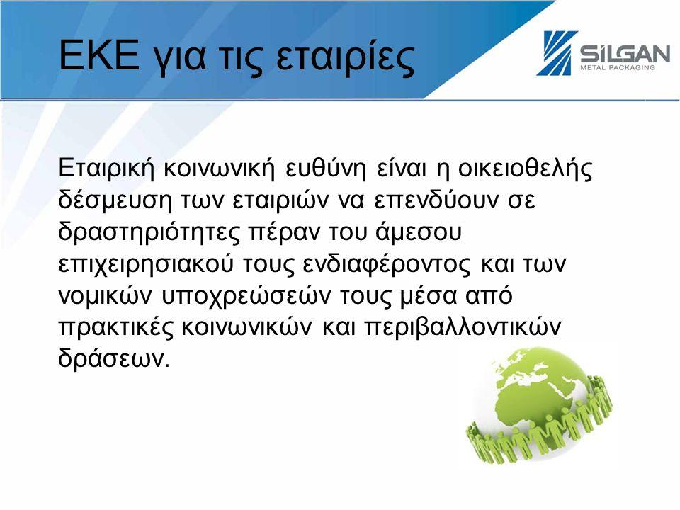 ΕΚΕ για τις εταιρίες Εταιρική κοινωνική ευθύνη είναι η οικειοθελής δέσμευση των εταιριών να επενδύουν σε δραστηριότητες πέραν του άμεσου επιχειρησιακού τους ενδιαφέροντος και των νομικών υποχρεώσεών τους μέσα από πρακτικές κοινωνικών και περιβαλλοντικών δράσεων.