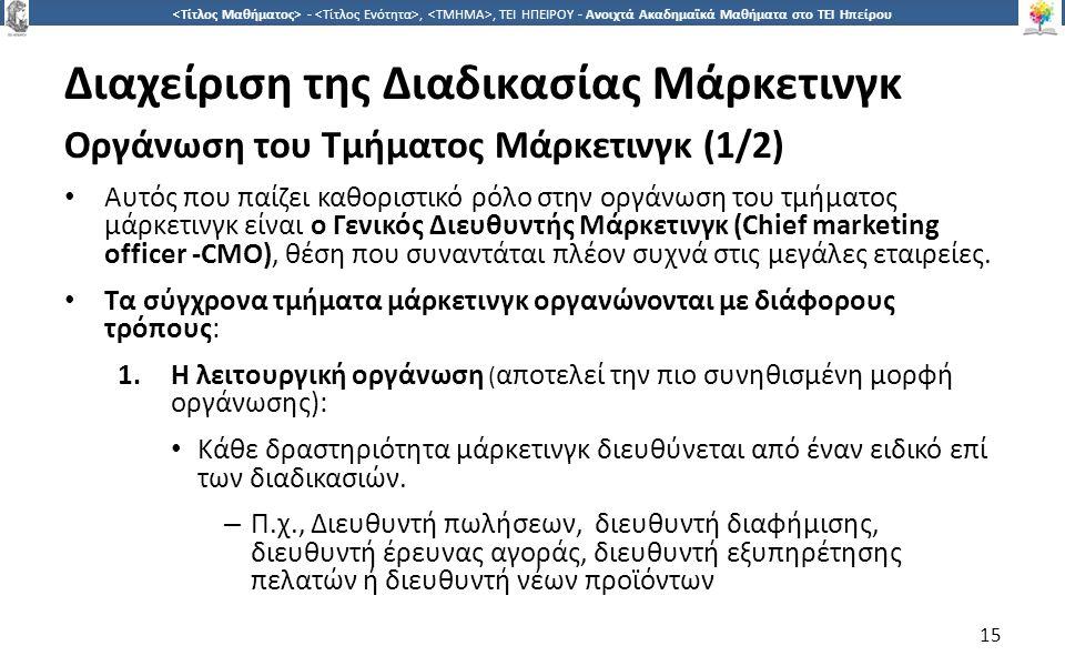 1515 -,, ΤΕΙ ΗΠΕΙΡΟΥ - Ανοιχτά Ακαδημαϊκά Μαθήματα στο ΤΕΙ Ηπείρου Διαχείριση της Διαδικασίας Μάρκετινγκ Οργάνωση του Τμήματος Μάρκετινγκ (1/2) Αυτός που παίζει καθοριστικό ρόλο στην οργάνωση του τμήματος μάρκετινγκ είναι ο Γενικός Διευθυντής Μάρκετινγκ (Chief marketing officer -CMO), θέση που συναντάται πλέον συχνά στις μεγάλες εταιρείες.