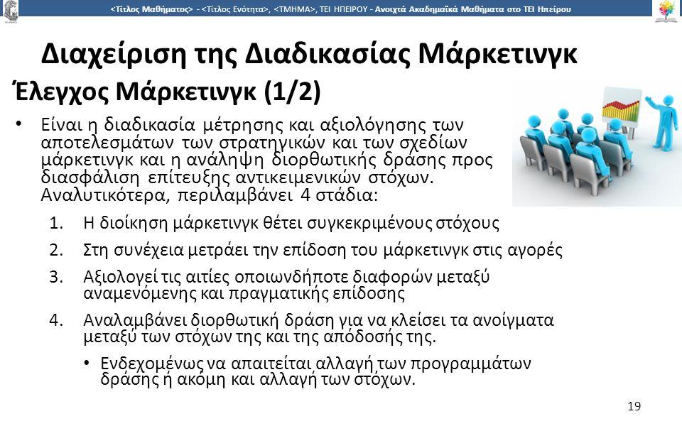 1919 -,, ΤΕΙ ΗΠΕΙΡΟΥ - Ανοιχτά Ακαδημαϊκά Μαθήματα στο ΤΕΙ Ηπείρου Διαχείριση της Διαδικασίας Μάρκετινγκ Έλεγχος Μάρκετινγκ (1/2) Είναι η διαδικασία μέτρησης και αξιολόγησης των αποτελεσμάτων των στρατηγικών και των σχεδίων μάρκετινγκ και η ανάληψη διορθωτικής δράσης προς διασφάλιση επίτευξης αντικειμενικών στόχων.