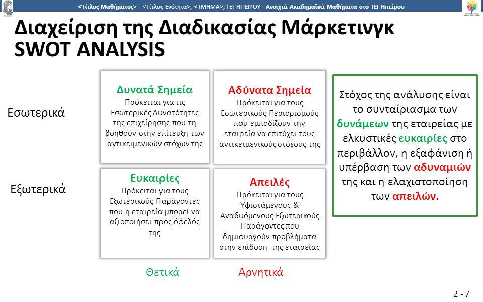 2828 -,, ΤΕΙ ΗΠΕΙΡΟΥ - Ανοιχτά Ακαδημαϊκά Μαθήματα στο ΤΕΙ Ηπείρου Βιβλιογραφία http://www.strategicmanagementinsight.com/swot-analyses/walt-disney-swot-analysis.html www.marsdd.com/mars-library