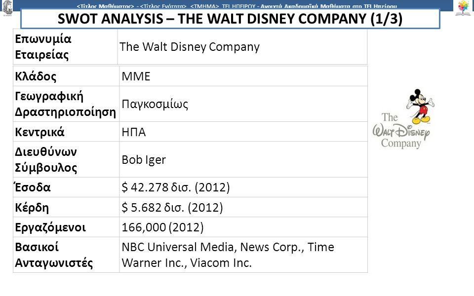 9 -,, ΤΕΙ ΗΠΕΙΡΟΥ - Ανοιχτά Ακαδημαϊκά Μαθήματα στο ΤΕΙ Ηπείρου Διαχείριση της Διαδικασίας Μάρκετινγκ 9 Η Walt Disney Company, μία εταιρεία που ιδρύθηκε στις ΗΠΑ, έχει επιβάλλει την κυριαρχία της παγκοσμίως στο χώρο της ψυχαγωγίας και των ΜΜΕ.