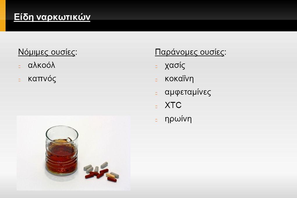Είδη ναρκωτικών Νόμιμες ουσίες: αλκοόλ καπνός Παράνομες ουσίες: χασίς κοκαΐνη αμφεταμίνες XTC ηρωίνη
