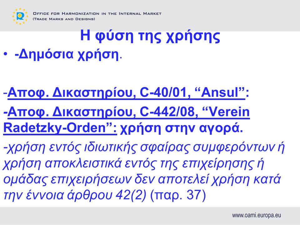 Η φύση της χρήσης -Δημόσια χρήση. -Αποφ. Δικαστηρίου, C-40/01, Ansul : -Αποφ.