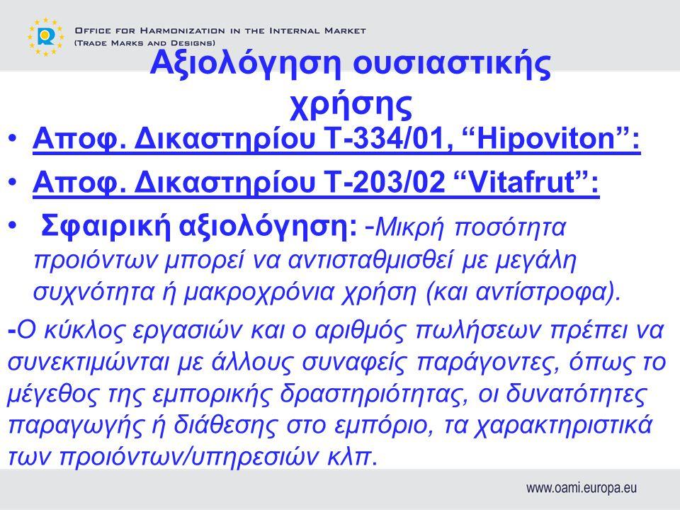 Αξιολόγηση ουσιαστικής χρήσης Αποφ. Δικαστηρίου Τ-334/01, Hipoviton : Αποφ.