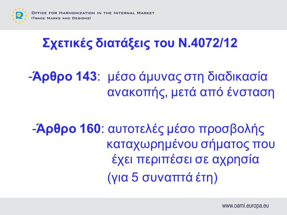 Σχετικές διατάξεις του Ν.4072/12 -Άρθρο 143: μέσο άμυνας στη διαδικασία ανακοπής, μετά από ένσταση -Άρθρο 160: αυτοτελές μέσο προσβολής καταχωρημένου σήματος που έχει περιπέσει σε αχρησία (για 5 συναπτά έτη)