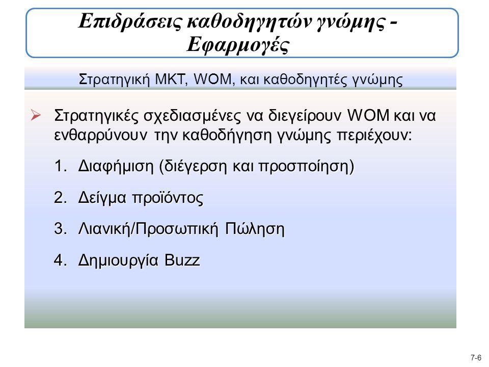 Στρατηγική ΜΚΤ, WOM, και καθοδηγητές γνώμης  Στρατηγικές σχεδιασμένες να διεγείρουν WOM και να ενθαρρύνουν την καθοδήγηση γνώμης περιέχουν: 1.Διαφήμιση (διέγερση και προσποίηση) 2.Δείγμα προϊόντος 3.Λιανική/Προσωπική Πώληση 4.Δημιουργία Buzz 7-6 Επιδράσεις καθοδηγητών γνώμης - Εφαρμογές