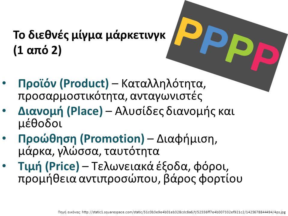 Το διεθνές μίγμα μάρκετινγκ (1 από 2) Προϊόν (Product) – Καταλληλότητα, προσαρμοστικότητα, ανταγωνιστές Διανομή (Place) – Αλυσίδες διανομής και μέθοδοι Προώθηση (Promotion) – Διαφήμιση, μάρκα, γλώσσα, ταυτότητα Τιμή (Price) – Τελωνειακά έξοδα, φόροι, προμήθεια αντιπροσώπου, βάρος φορτίου Πηγή εικόνας: http://static1.squarespace.com/static/51c0b3e9e4b01eb328cdc8a6/t/52556ff7e4b007332ef921c2/1425678844494/4ps.jpg