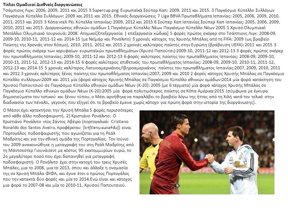 Τίτλοι Ομαδικοί Διεθνείς διοργανώσεις Τσάμπιονς Λιγκ: 2006, 2009, 2011 και 2015 3 Supercup.png Ευρωπαϊκά Σούπερ Καπ: 2009, 2011 και 2015. 3 Παγκόσμιο