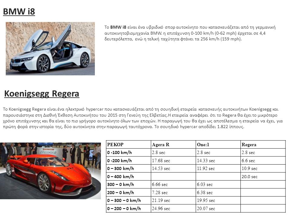 BMW i8 To BMW i8 είναι ένα υβριδικό σπορ αυτοκίνητο που κατασκευάζεται από τη γερμανική αυτοκινητοβιομηχανία BMW. η επιτάχυνση 0-100 km/h (0-62 mph) έ