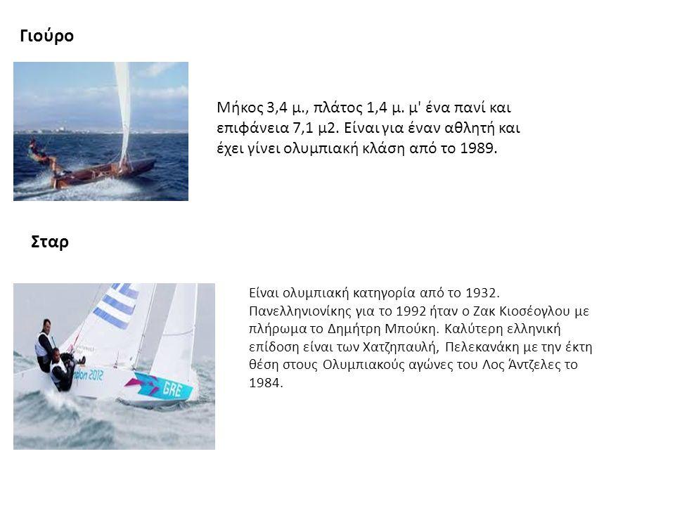 Γιούρο Μήκος 3,4 μ., πλάτος 1,4 μ. μ' ένα πανί και επιφάνεια 7,1 μ2. Είναι για έναν αθλητή και έχει γίνει ολυμπιακή κλάση από το 1989. Σταρ Είναι ολυμ