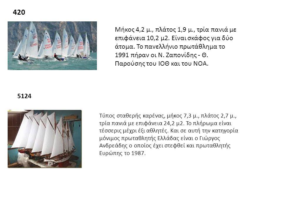 420 Μήκος 4,2 μ., πλάτος 1,9 μ., τρία πανιά με επιφάνεια 10,2 μ2. Είναι σκάφος για δύο άτομα. Το πανελλήνιο πρωτάθλημα το 1991 πήραν οι Ν. Ζαπονίδης -