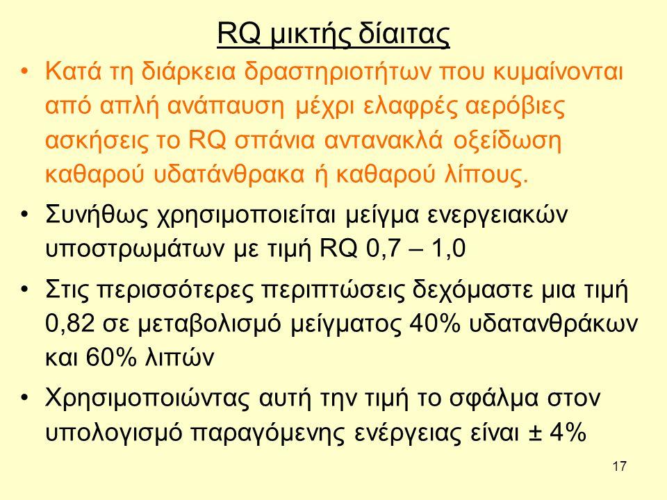17 RQ μικτής δίαιτας Κατά τη διάρκεια δραστηριοτήτων που κυμαίνονται από απλή ανάπαυση μέχρι ελαφρές αερόβιες ασκήσεις το RQ σπάνια αντανακλά οξείδωση καθαρού υδατάνθρακα ή καθαρού λίπους.