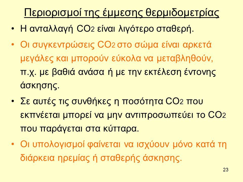 23 Περιορισμοί της έμμεσης θερμιδομετρίας Η ανταλλαγή CO 2 είναι λιγότερο σταθερή. Οι συγκεντρώσεις CO 2 στο σώμα είναι αρκετά μεγάλες και μπορούν εύκ