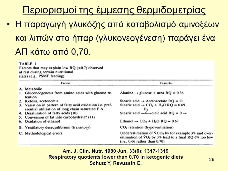 26 Περιορισμοί της έμμεσης θερμιδομετρίας Η παραγωγή γλυκόζης από καταβολισμό αμινοξέων και λιπών στο ήπαρ (γλυκονεογένεση) παράγει ένα ΑΠ κάτω από 0,70.