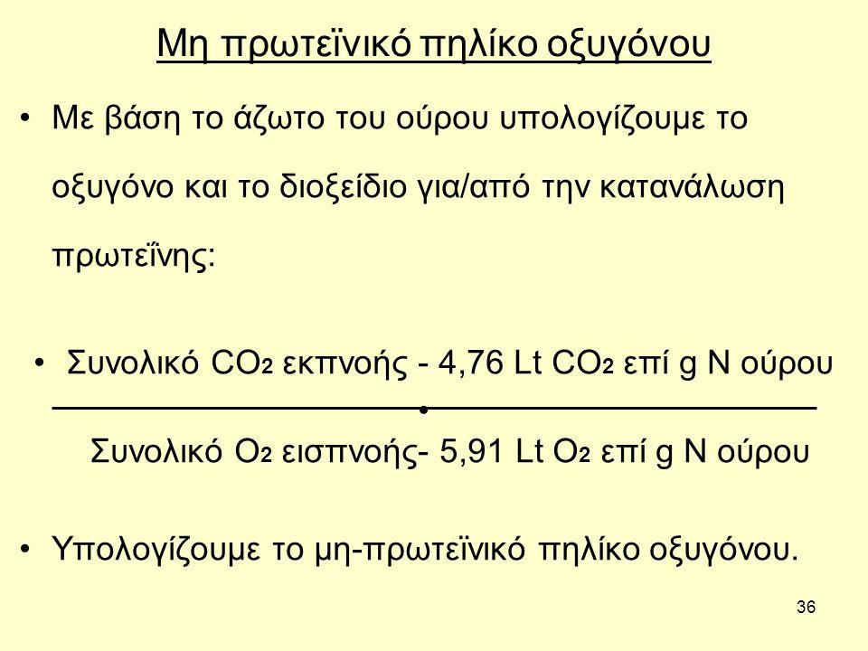 36 Μη πρωτεϊνικό πηλίκο οξυγόνου Με βάση το άζωτο του ούρου υπολογίζουμε το οξυγόνο και το διοξείδιο για/από την κατανάλωση πρωτεΐνης: Συνολικό CO 2 ε