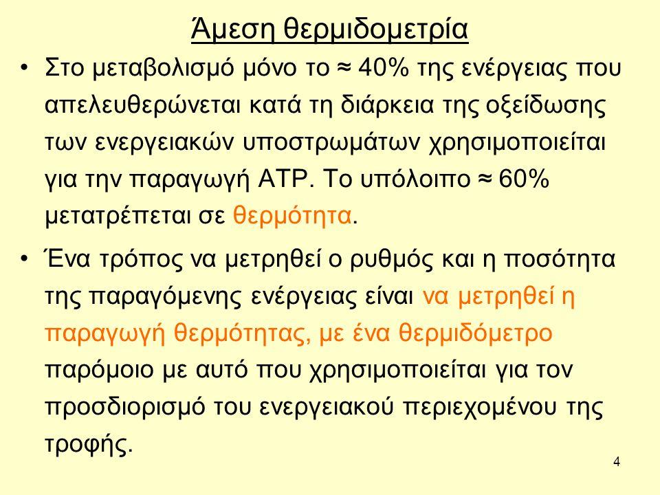 4 Άμεση θερμιδομετρία Στο μεταβολισμό μόνο το ≈ 40% της ενέργειας που απελευθερώνεται κατά τη διάρκεια της οξείδωσης των ενεργειακών υποστρωμάτων χρησιμοποιείται για την παραγωγή ΑΤΡ.
