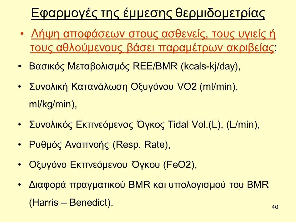 40 Εφαρμογές της έμμεσης θερμιδομετρίας Λήψη αποφάσεων στους ασθενείς, τους υγιείς ή τους αθλούμενους βάσει παραμέτρων ακριβείας: Βασικός Μεταβολισμός REE/BMR (kcals-kj/day), Συνολική Κατανάλωση Οξυγόνου VO2 (ml/min), ml/kg/min), Συνολικός Εκπνεόμενος Όγκος Tidal Vol.(L), (L/min), Ρυθμός Αναπνοής (Resp.