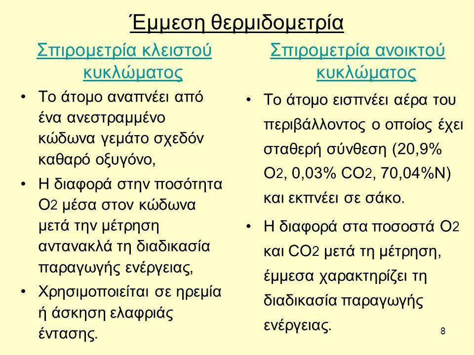8 Έμμεση θερμιδομετρία Σπιρομετρία κλειστού κυκλώματος Το άτομο αναπνέει από ένα ανεστραμμένο κώδωνα γεμάτο σχεδόν καθαρό οξυγόνο, Η διαφορά στην ποσό