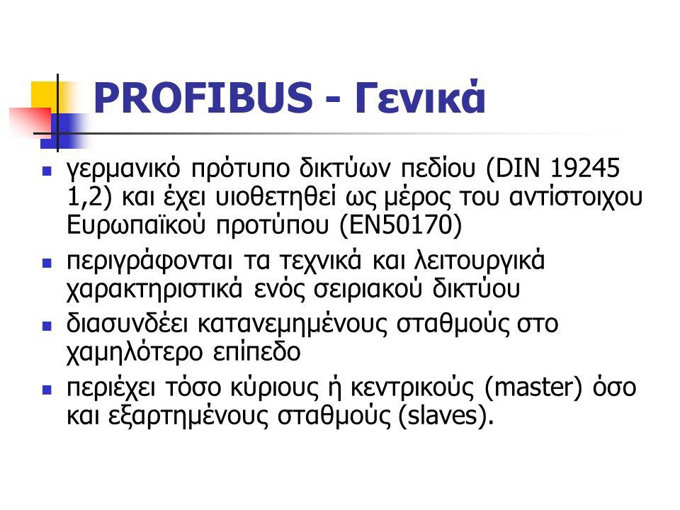 PROFIBUS - Γενικά γερμανικό πρότυπο δικτύων πεδίου (DIN 19245 1,2) και έχει υιοθετηθεί ως μέρος του αντίστοιχου Ευρωπαϊκού προτύπου (ΕΝ50170) περιγράφονται τα τεχνικά και λειτουργικά χαρακτηριστικά ενός σειριακού δικτύου διασυνδέει κατανεμημένους σταθμούς στο χαμηλότερο επίπεδο περιέχει τόσο κύριους ή κεντρικούς (master) όσο και εξαρτημένους σταθμούς (slaves).