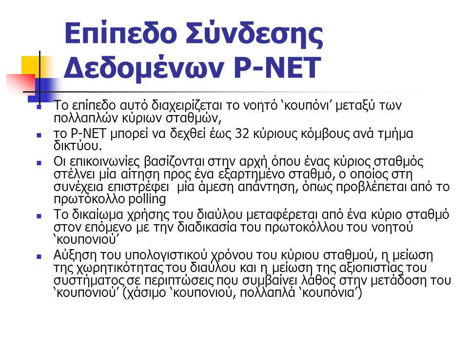 Επίπεδο Σύνδεσης Δεδομένων P-NET Το επίπεδο αυτό διαχειρίζεται το νοητό 'κουπόνι' μεταξύ των πολλαπλών κύριων σταθμών, το P-NET μπορεί να δεχθεί έως 32 κύριους κόμβους ανά τμήμα δικτύου.