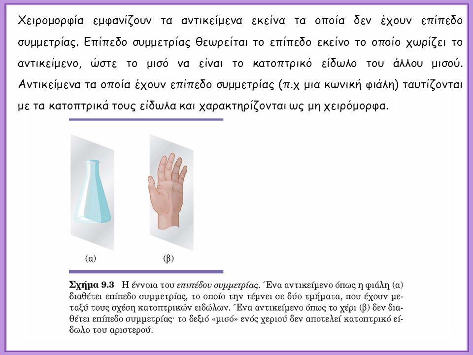 Χειρομορφία εμφανίζουν τα αντικείμενα εκείνα τα οποία δεν έχουν επίπεδο συμμετρίας.