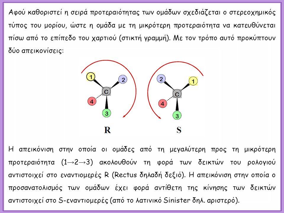 Αφού καθοριστεί η σειρά προτεραιότητας των ομάδων σχεδιάζεται ο στερεοχημικός τύπος του μορίου, ώστε η ομάδα με τη μικρότερη προτεραιότητα να κατευθύνεται πίσω από το επίπεδο του χαρτιού (στικτή γραμμή).