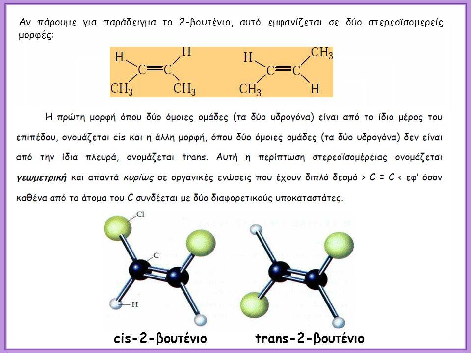 cis-2-βουτένιοtrans-2-βουτένιο Αν πάρουμε για παράδειγμα το 2-βουτένιο, αυτό εμφανίζεται σε δύο στερεοϊσομερείς μορφές: