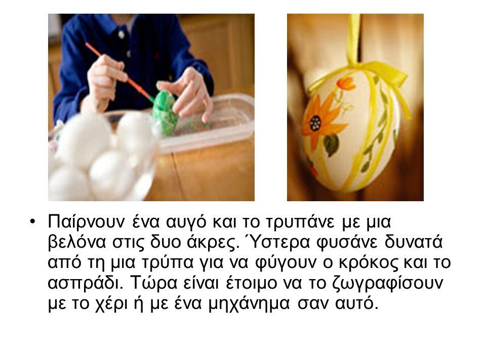 Παίρνουν ένα αυγό και το τρυπάνε με μια βελόνα στις δυο άκρες.