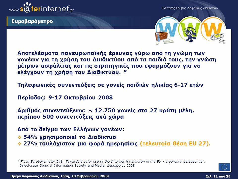 Σελ. 11 από 29 Ημέρα Ασφαλούς Διαδικτύου, Τρίτη, 10 Φεβρουαρίου 2009 Ευροβαρόμετρο Αποτελέσματα πανευρωπαϊκής έρευνας γύρω από τη γνώμη των γονέων για