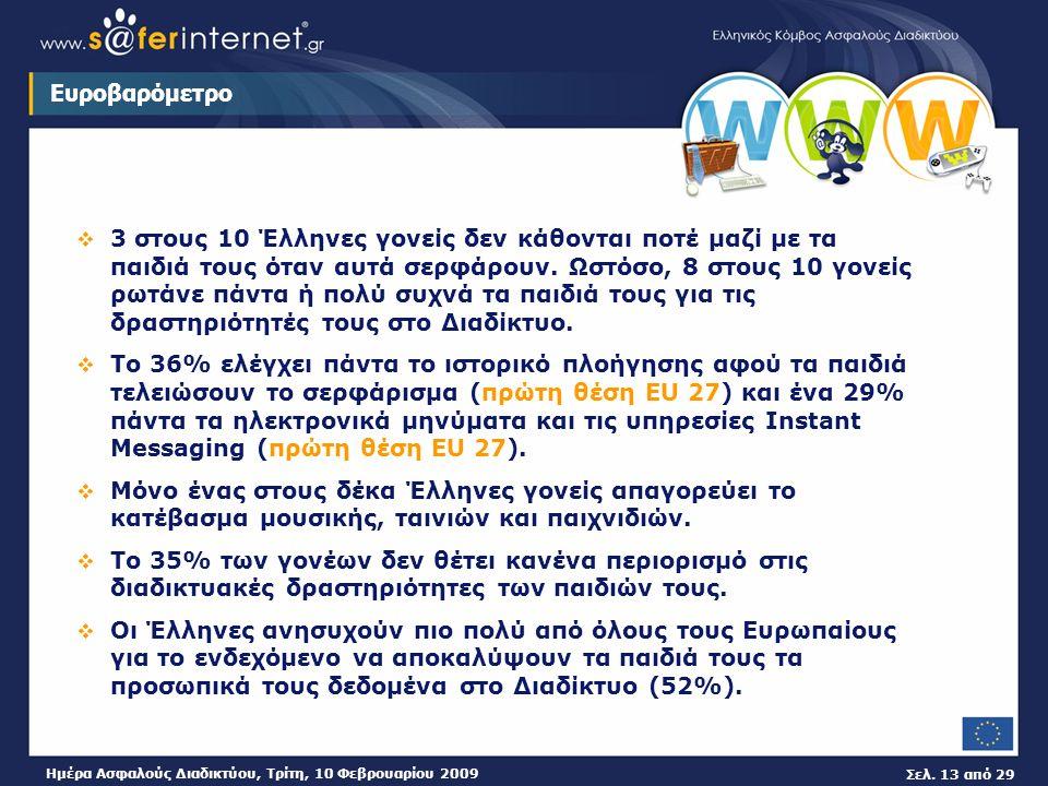 Σελ. 13 από 29 Ημέρα Ασφαλούς Διαδικτύου, Τρίτη, 10 Φεβρουαρίου 2009 Ευροβαρόμετρο  3 στους 10 Έλληνες γονείς δεν κάθονται ποτέ μαζί με τα παιδιά του